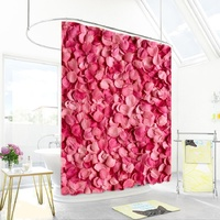 Romantic Warmth Pink Petal Polyester Shower Curtain Waterproof Home Bathroom Curtains Thicken Shower Curtains