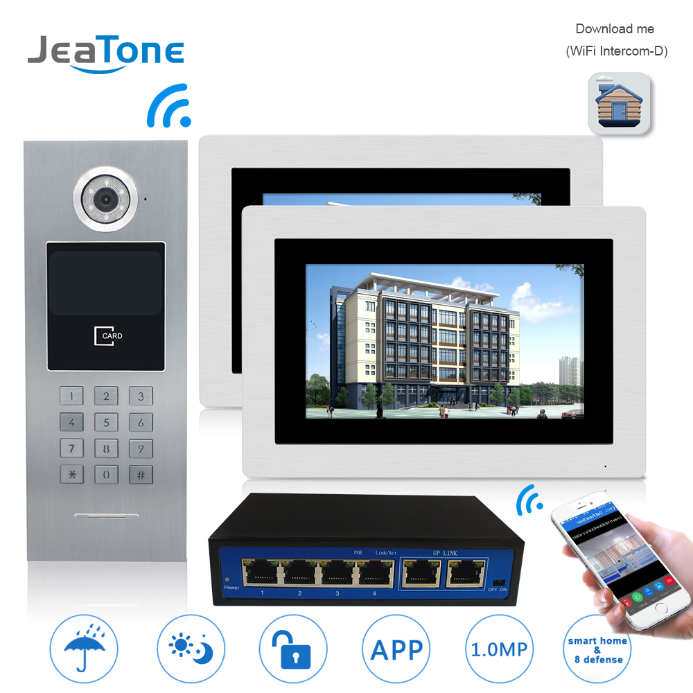 7 ''WIFI IP Vidéo Porte Téléphone Interphone Porte Système de Contrôle D'accès de Sécurité de Construction de Cloche Écran Tactile Mot de Passe/pour 2 ménages