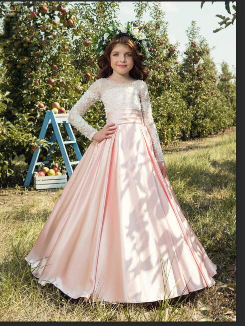 Long Sleeves   Flower     Girls     Dresses   2019 New O Neck Floor Length Appliques Beaded A Line Sweety Pageant Party Gowns Birthday   Dress