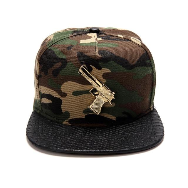 Original camouflage pistol shape cotton flat -brimmed hats hip-hop cap baseball cap hat lovers Tide brand