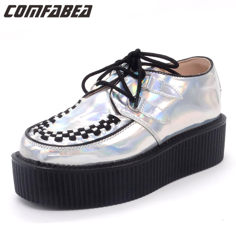 Fashion Silver Spring Autumn Shoes Laser Hologram Women Goth Punk High Platform Flat Creepers Shoes For