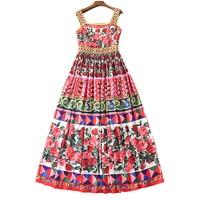 XF 2018 Party High Quality Fashion Designer Retro Summer Maxi Dress Women S Sling Print Fashion
