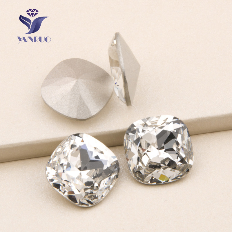 YANRUO 4470 Cushion Crystal Bright Stones Rhinestones Sew In Square Glass Stones Գործվածքային Rhinestones զգեստ