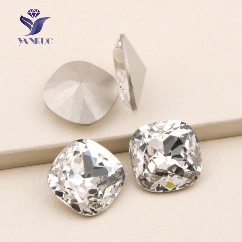 YANRUO 4470 Kissen Crystal Bright Stones Strasssteine annähen quadratische Glassteine Applique Strasssteine Kleid