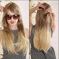 "Big Promotion 26"" Ombre Wig Long Straight Synthetic Wig Fashion Heat Resistant Blonde Brown Two Tone Wigs for Women"
