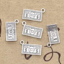 25 sztuk Charms 100 dolarów pieniądze 10x19mm antyczne srebro kolor Plated wisiorki dokonywanie DIY Handmade tybetański srebrny kolor biżuteria tanie tanio eunwol CN (pochodzenie) Ze stopu cynku money like photo Metal TRENDY