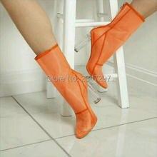 Gorąca sprzedaż buty sexy orange clear mesh pleksi przezroczyste chunky wysoki obcas buty kobiety moda botki botki sandały