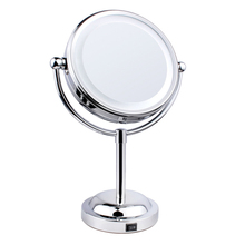 Fashion 6 Inch 3x Magnification Led Cosmetic Mirror Two-Sided Tabletop Silver Makeup Mirror 360 Degree Free Rotation