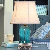 YOOK 33*56 см Средиземноморский простой европейский Настольная лампа бежевым абажуром современный Настольный светильник синий Стекло настоль