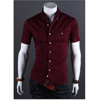 Men Shirt Luxury Brand 2016 Male Short Sleeve Shirts Casual Metal Buckle Hit Color Slim Fit