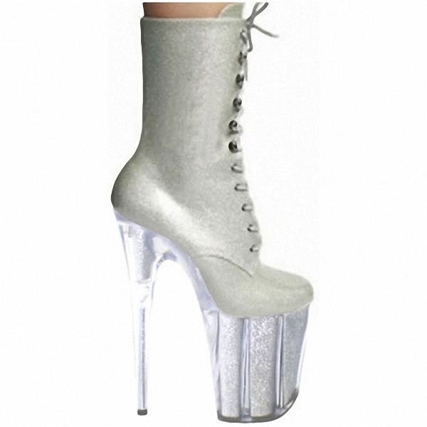 fashion sexy knight female 8 inch high heel platform ankle boots for women autumn winter shoes 20cm silver pole dancing boots ножевой блок 1401 7600 на 1400