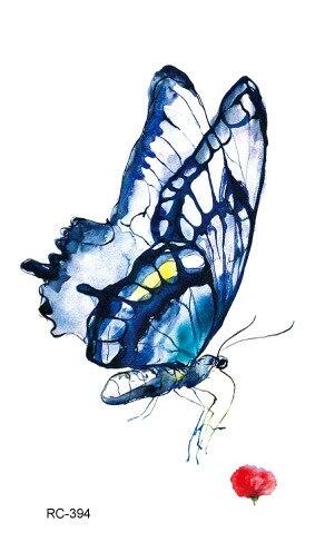 Pegatinas De Tatuaje Femenino Impermeable Realista Acuarela Mariposa