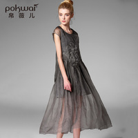 POKWAI Long Vintage Embroidery Summer Silk Dress Women Fashion 2017 New Arrival High Quality Sleeveless O Neck Fit Flare Dresses