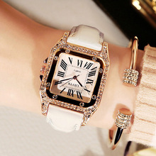 цены на Luxury Diamond Women Watch White Square Crystal Ladies Dress Quartz Clocks Leather Strap Bracelet Watches bayan kol saati montre  в интернет-магазинах