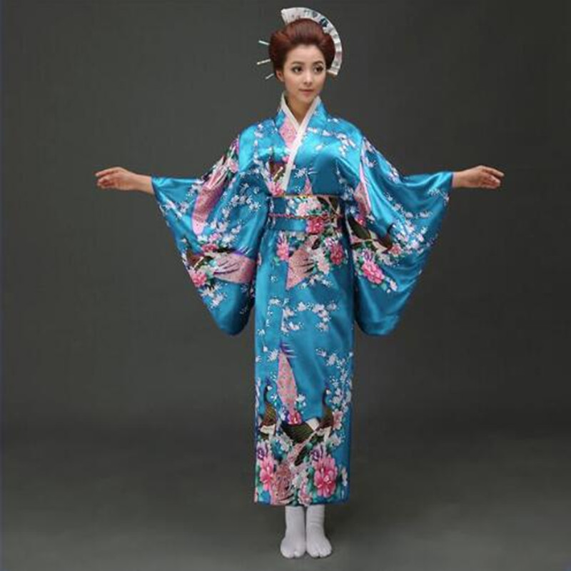 Lake Blue National Trends Women Sexy Kimono Yukata With Obi Novelty Evening Dress Japanese Cosplay Costume Floral One Size