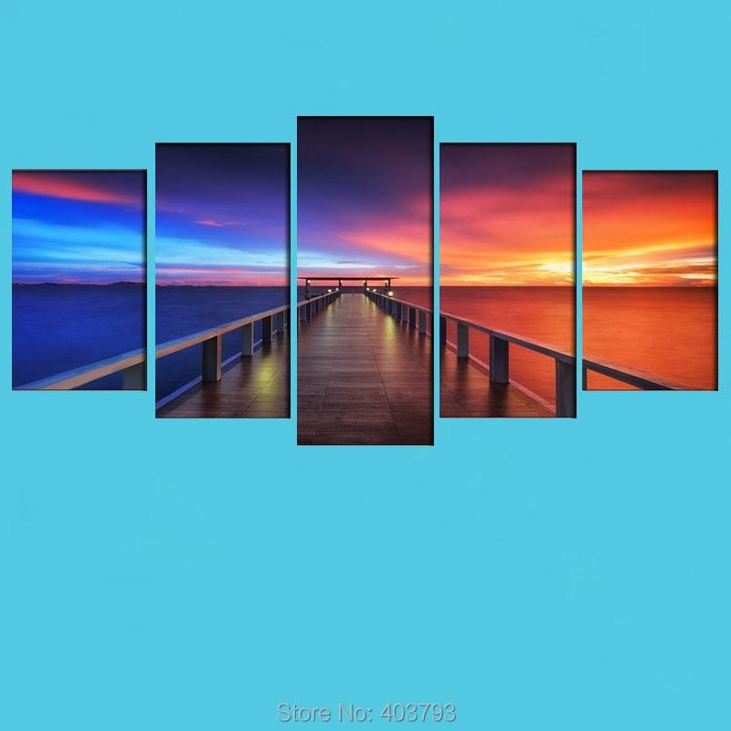 Sunset Bridge 5 Panels Modern Seascape Canvas Prints Landscape Pictures Paintings Unframed Canvas Wall Art For Home Decor