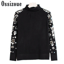 Runway 2017 high quality spring new fashion beading sequined Polo turtleneck sweater long sleeve pullovers knitting outwear Tops