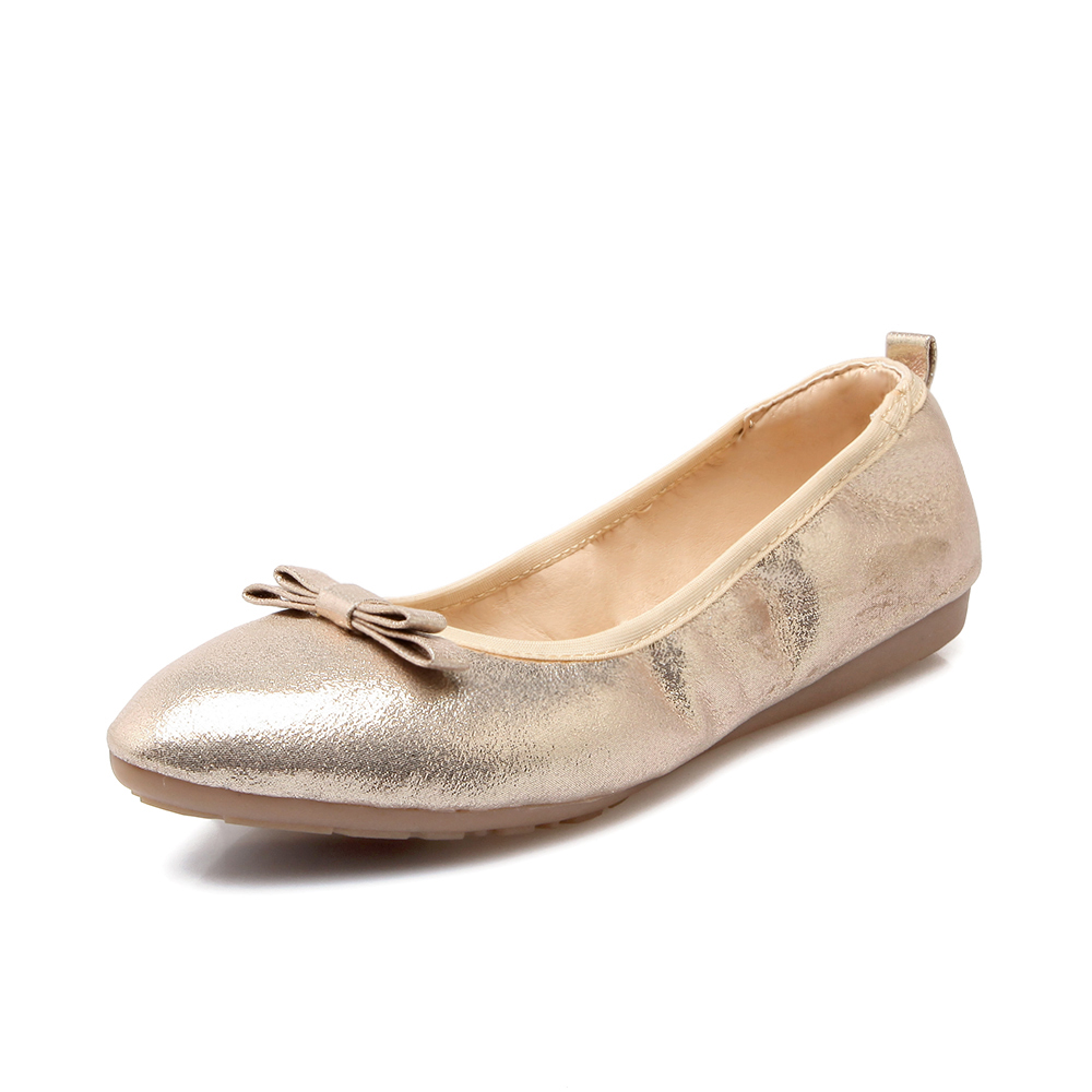 2017 New Pointed Toe Flat Women Casual Shoes Ballet Flats Shallow Mouth Single Gold Silver Comfortable Folding Soft Women Shoes lin king fashion pearl pointed toe women flats shoes new arrive flock casual ladies shoes comfortable shallow mouth single shoes