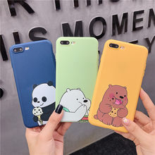 We Three Bears Bare Bear Phone Case For iphone XS MAX XR X 6 6s 7 8 plus Cute Funny Candy soft Silicon TPU Back Cover(China)