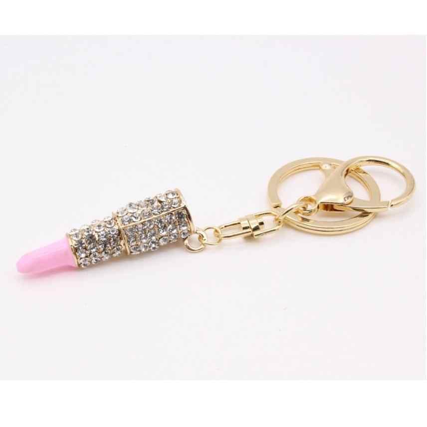 Fashion Crystal Rhinestone Lipstick Pendant Keyring Bag Purse Car Key Chain Gift
