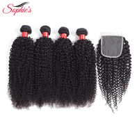 Sophie's Hair Bundles With Closure 4 Bundles Kinky Curly Human Non Remy Malaysia Hair Weaves Natural Color Hair Extensions