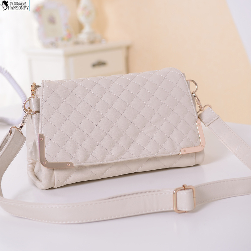 HANSOMFY  Europe And The Big 2015 Autumn New Fashion Handbags Fashionista Sheepskin Rhombus Chain Bag
