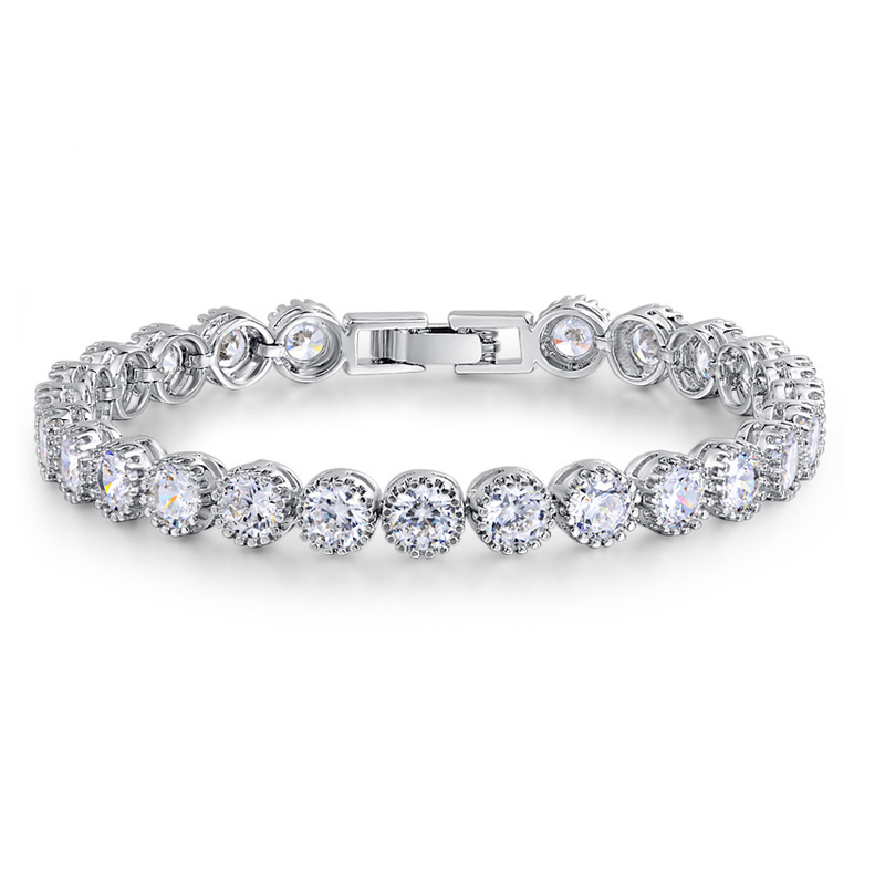 Fine 925 Sterling Silver Tennis Bracelet with 2.5mm SQ Lab Created Diamonds