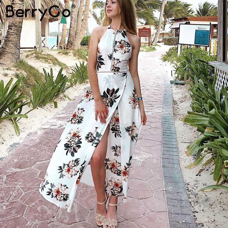 BerryGo цветочный принт Холтер шифоновое длинное платье женское с открытой спиной 2018 макси платья vestidos сексуальное Белое пляжное летнее платье