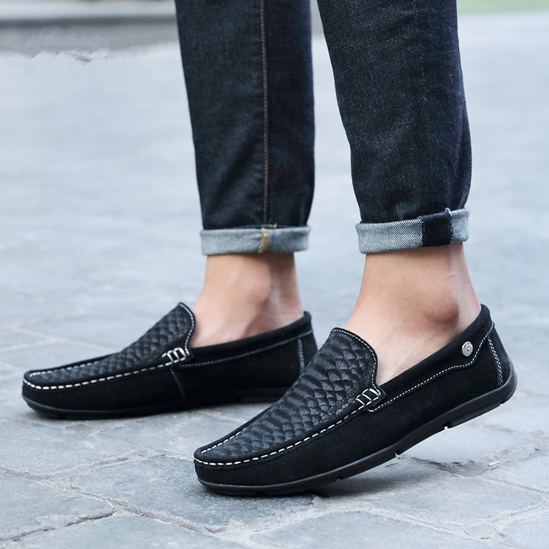 MIUBU Moccasin Homme Loafers Men Slip On Shoes Casual Flat Shoes Brand Suede Shoe Slipony Flats Moccasins Men Driving Shoes in Men 39 s Casual Shoes from Shoes