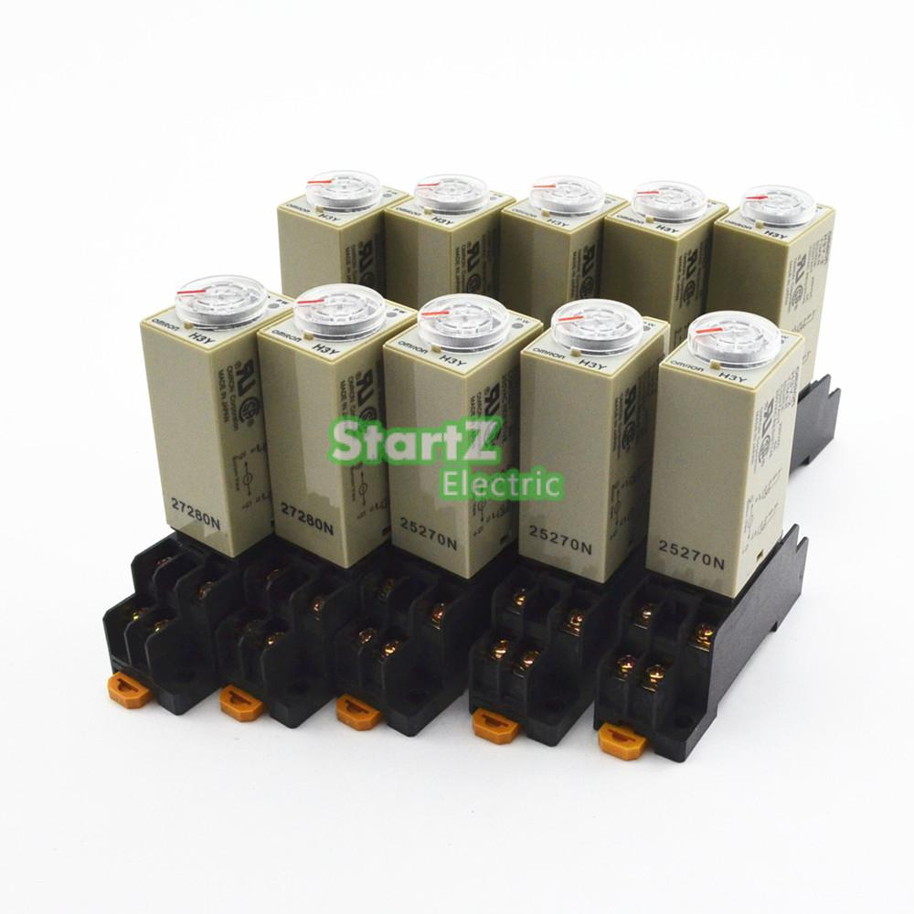 10Pcs H3Y 2 AC220V Delay Timer Time Relay 0 60S with Base