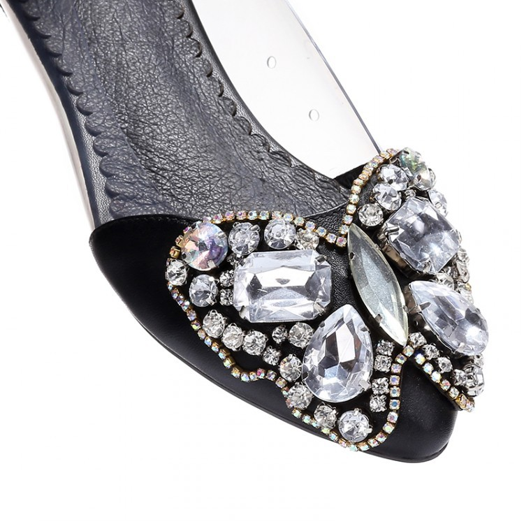 new rhinestone Butterfly two Pieces cow leather women flats 2015  transparent side summer classic Black Dress ballet flat shoes-in Women s  Flats from Shoes ... ba2d11c1822a