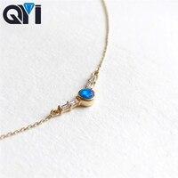 QYI ожерелье для женщин 18 К желтое золото круглый Опал Алмазное ожерелье натуральный синий опал кулон обручение свадебное звено цепи