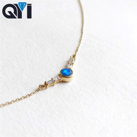QYI Necklace for Women 18K Yellow Gold Round Opal Diamond Necklace Natual Blue Opal Pendant Engagement Wedding Link Chain