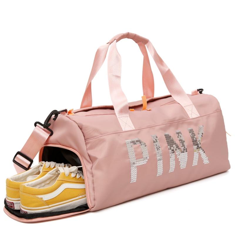 Women Waterproof Nylon Travel Bag Large Capacity Pink Sequins Shoulder Bag PU Leather Quality Ladies Weekend Portable Duffel Bag