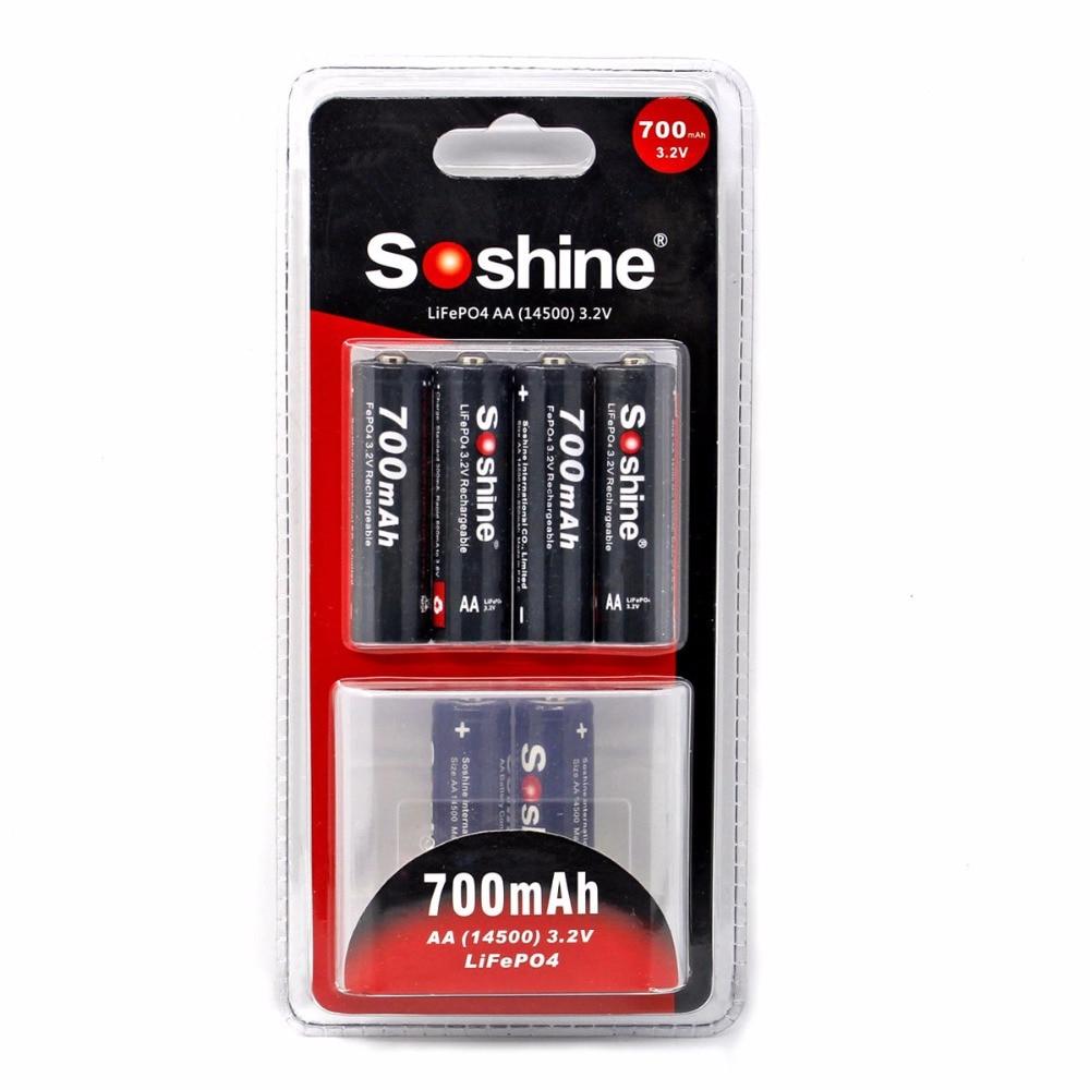 4 pcs/paquet Soshine 700 mAh 14500 batterie 3.2 V LiFePO4 AA batterie Rechargeable avec connecteur de batterie de boîte de batterie