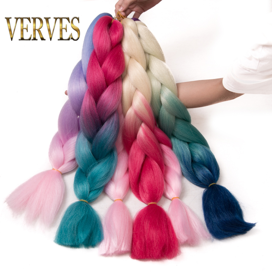 VERVES Braiding Hair 1 piece 24 inch Crochet Jumbo Braids 100g/piece Synthetic ombre Kanekalon Fiber Hair Extensions color blue