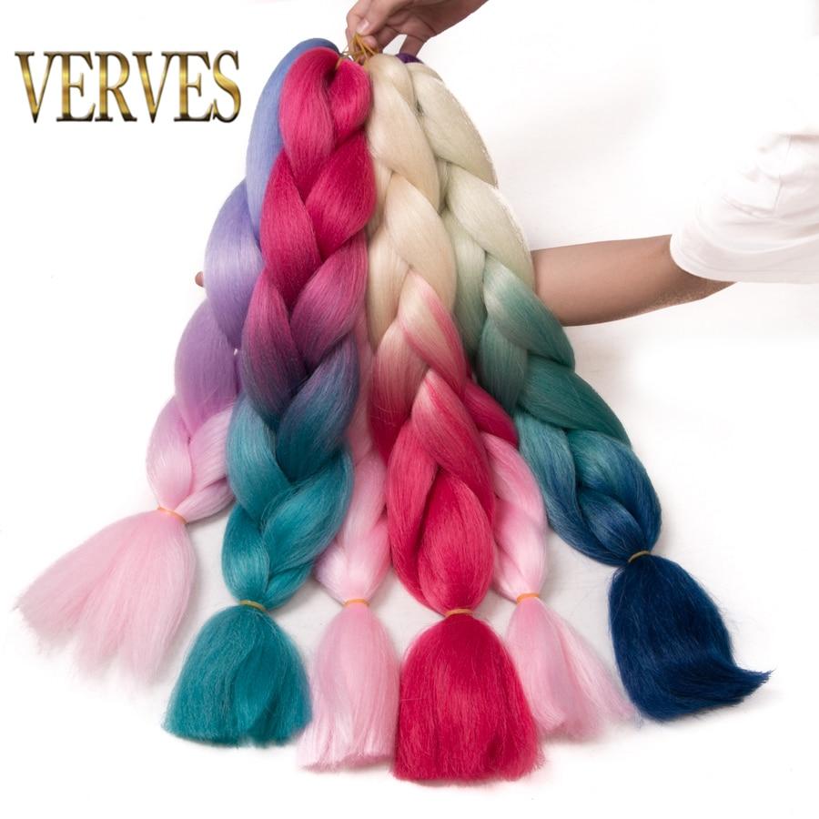 VERVES pelo trenzado 1 pieza 24 pulgadas Crochet trenzas Jumbo 100 g/unid sintético ombre Kanekalon fibra extensiones de cabello de color azul