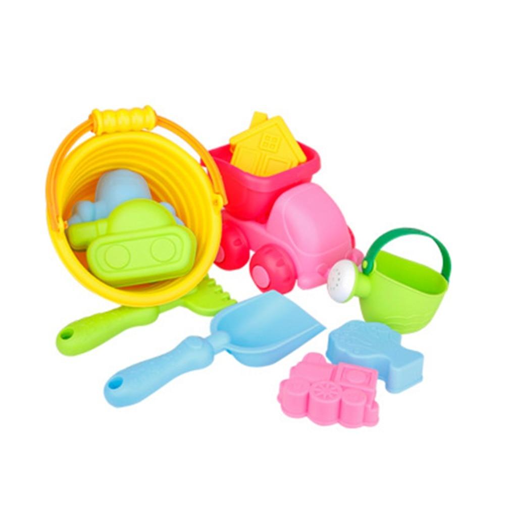 MrY New 10 Pcs/Set Portable Beach Toys Bucket Shovel Plastic Beach Toys Sand Play Set For Kids Boys Girls