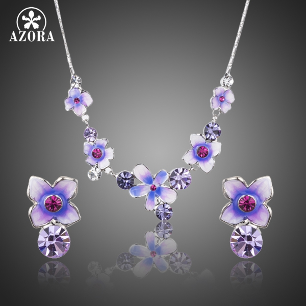 AZORA Gorgeous Oil Painting Pattern Flower Stud Earrings and Pendant Necklace Wedding Jewelry Set for Women TG0187