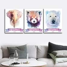 Elephant Raccoon Polar Bear Wall Pictures Poster Print Canvas Painting Calligraphy for Living Room Bedroom Home Decor Frameless