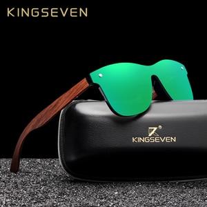 Image 1 - KINGSEVEN بوبينغا خشبية نظارات الرجال النساء الاستقطاب الرجعية بدون إطار الأخضر عدسات عاكسة نظارات شمسية اليدوية القيادة نظارات