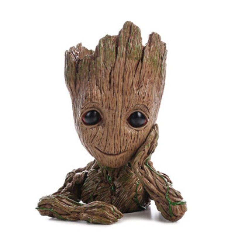 2 Baby Groot Flowerpot Pen Pot Figure Toy Gift 16cm Guardians of The Galaxy Vol