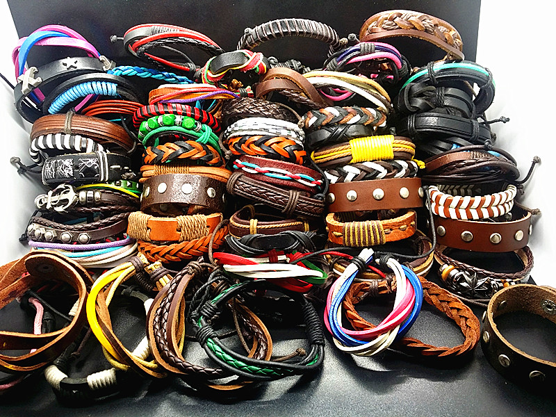 MIXMAX wholesale 100pcs cuff Genuine leather bracelets assorted mixed colorful different stylesvintage Ethnic Tribal jewelry