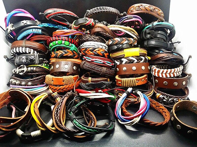 MIXMAX venta al por mayor 100 piezas brazalete de pulseras de cuero mixto surtido diferentes colores stylesvintage étnicos joyería Tribal-in Pulseras de brazalete from Joyería y accesorios    1