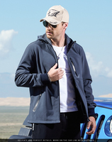 Autumn New Men Casual Softshell Jackets Solid Waterproof Overcoat Embroidery Logo Overcoat Black/Blue/Gray