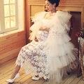 Hot maternidade fotografia adereços sessão de fotos da gravidez grávida mulheres voile vestidos de renda branca sem mangas com decote em v flor dress