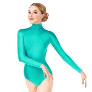 Image 1 - Женское гимнастическое трико Ensnovo, балетная Одежда для танцев, Женская балетная одежда, Женское боди с длинным рукавом, колготки
