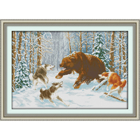 Amor eterno de Lobos e urso na neve Chinês cross stitch kits 11CT algodão Ecológico carimbado DIY decorações do ano novo
