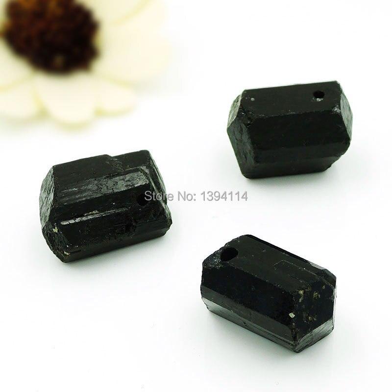Natural Black Tourmaline Hexagonal Column Point Perforating Pendants 25 30 mm