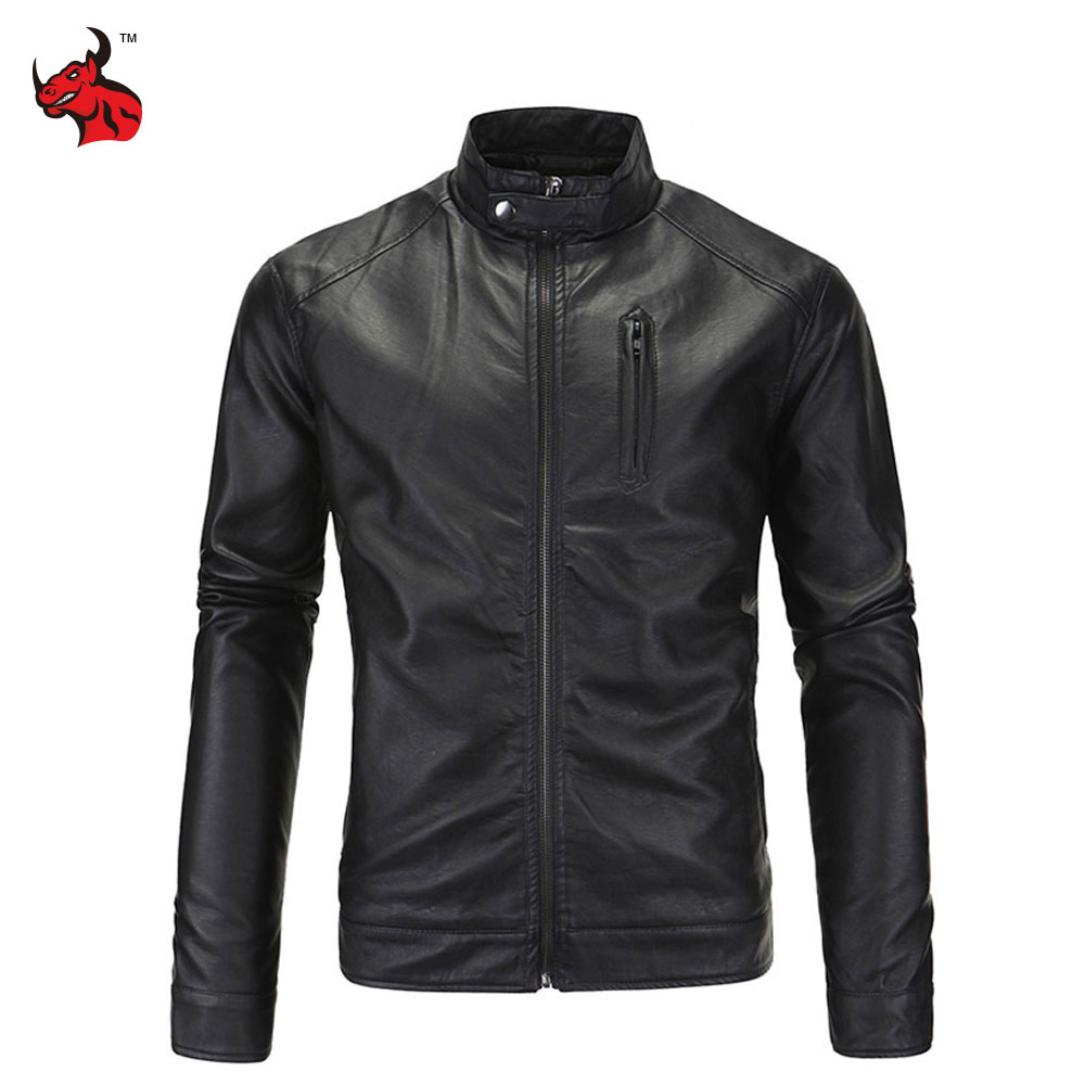New Motorcycle Jacket Vintage PU Leather Jackets Stand Collar Male Moto Jackets Men's Black Jaqueta Motoqueiro pu leather spliced stand collar zip up jacket